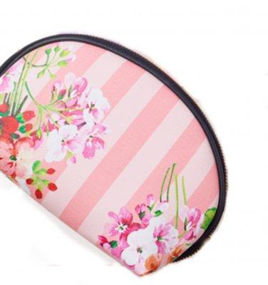 Pink Floral Stripe Cosmetic Bag