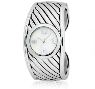 Ladies Silver Cuff Bracelet Watch With Mother of Pearl Face