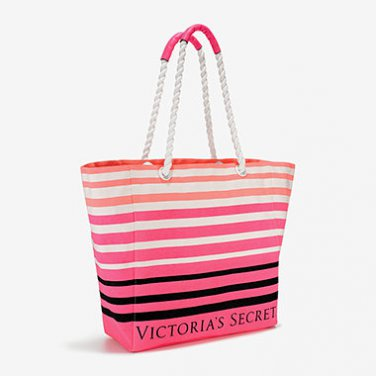 Victoria's Secret Striped Canvas Beach Tote