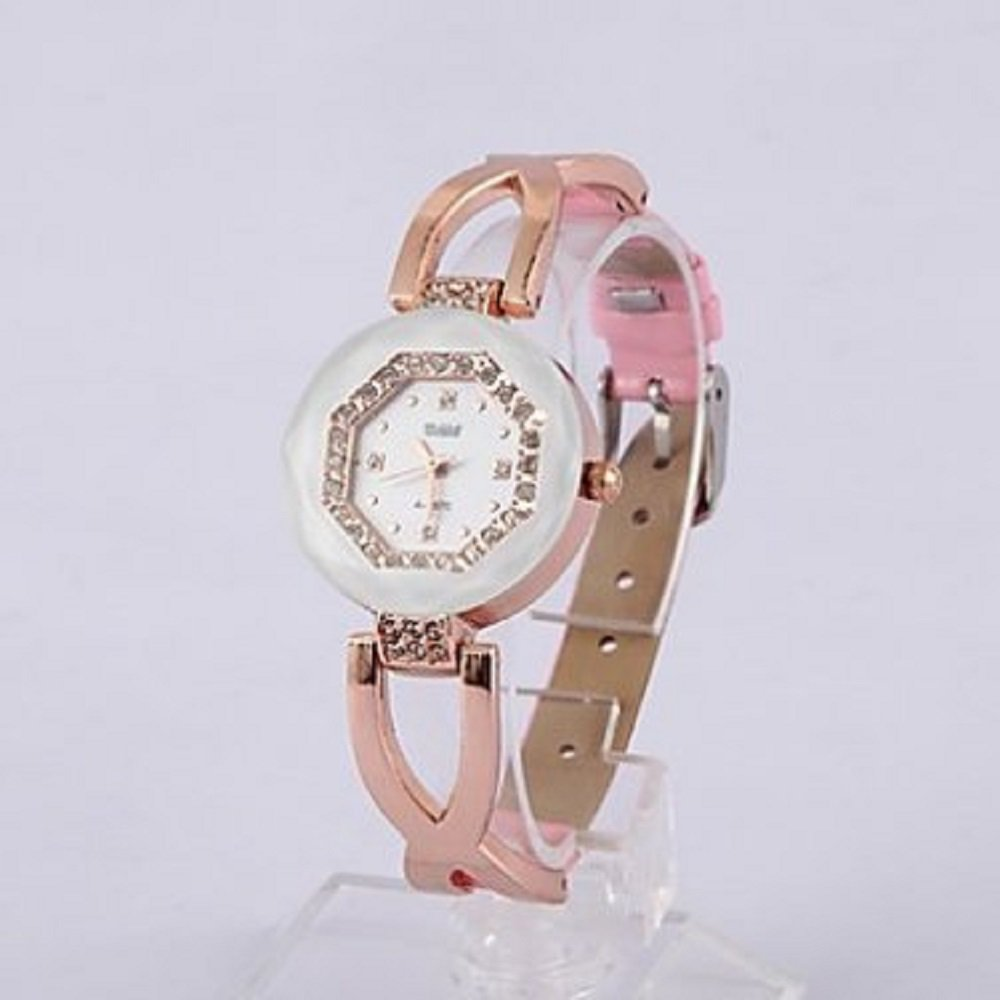 Pink & Gold Crystal Accent Bracelet Wrist Watch