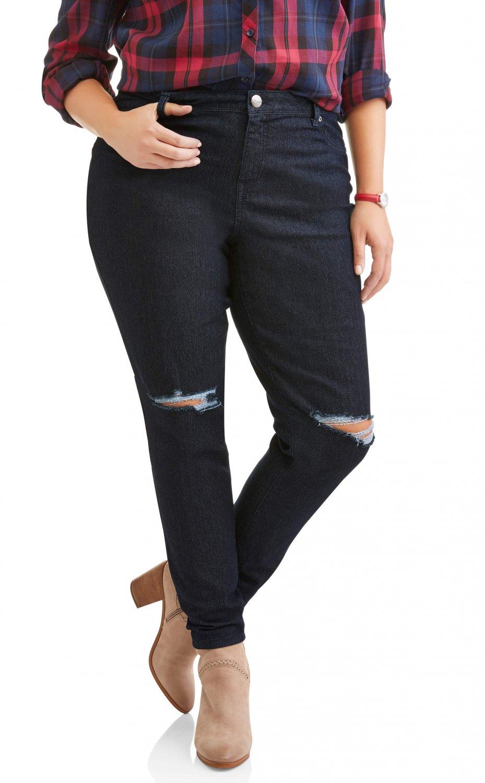 A3 Denim Women's Plus Size Destructed Skinny Jean