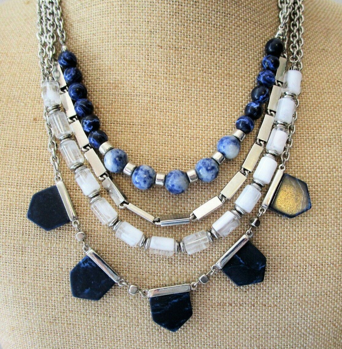 White House Black Market Convertible Beaded Necklace Blue / White / Silver