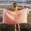 Peach Classic Striped Turkish Towel