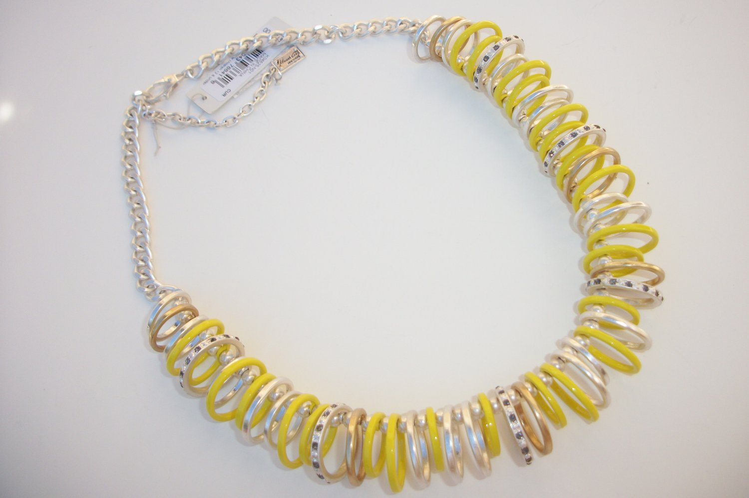 $125 Kenneth Cole 'Urban Rings' Necklace Yellow Silver Gold Hematite Crystals