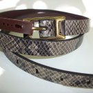 Fossil Brand Python Snake Embossed - L - Dark Smoke Leather Skinny Belt  BT4022
