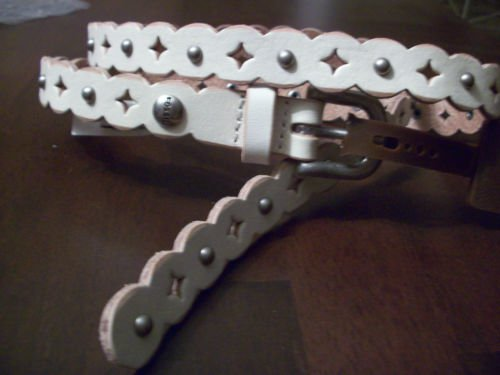 Fossil Brand Scallop Signature Cut Out Skinny Leather Belt  M Bone Off White