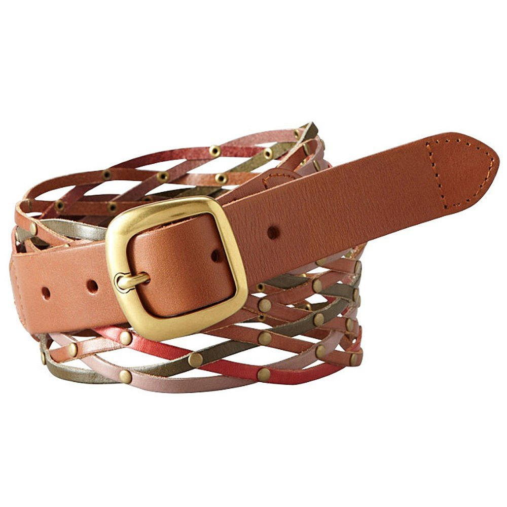 Fossil Brand Multi Neutral Wide Studded Woven Weave Leather Belt BT4033  L