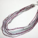 Jessica Simpson GIA Purple Bead Multi Chain Silver Tone Layered Necklace