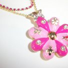 Betsey Johnson Puffy Flower Necklace Butterfly Crystals Ladybug Bee Garden Pink