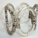 Kenneth Cole 'Urban Snake' Python Print Wrapped Silvertone Hinged Cuff Bracelet