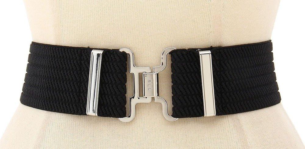 Lauren Ralph Lauren Stretch Woven Wide Waist Belt  Black -XL- Interlock Closure