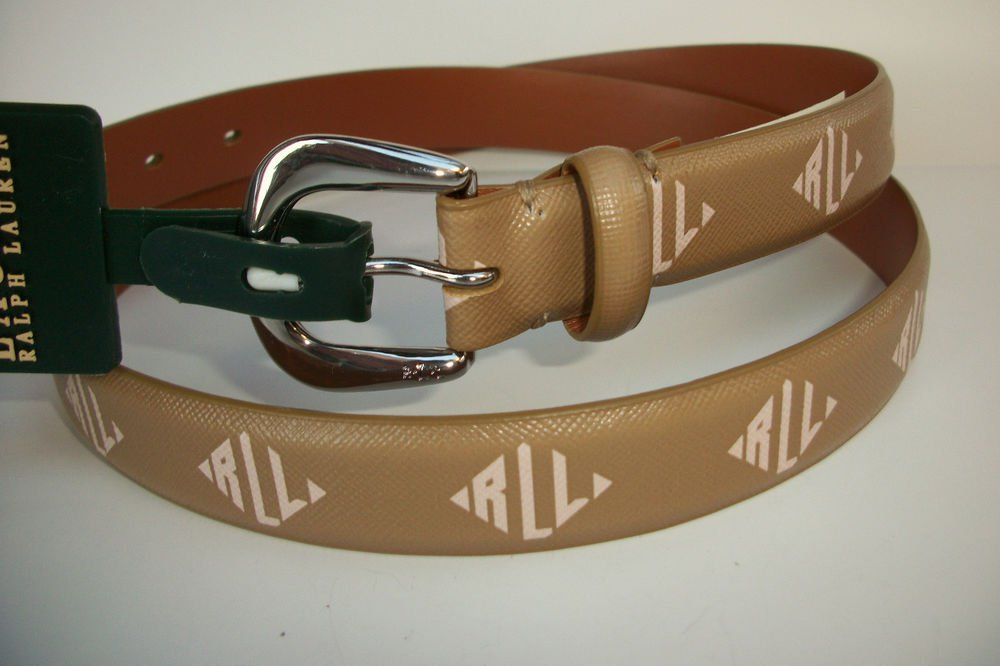 Lauren Ralph Lauren Dark Khaki & Ivory Monogram Logo Printed Belt NWT XL