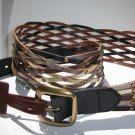 Fossil Brand Multi Metallic Wide Studded Woven Weave - L - Leather Belt  BT4033