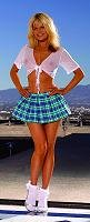 School girl with pleated mini skirt and short sleeve tie front top