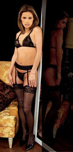 3 pc set. lace bra, garter belt, thigh hi n g string