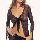 2 pc tie fronts spiderweb lace jacket with shorts