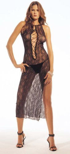 Swirl lace long dress with lace up front g string
