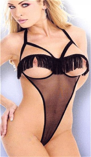 Sexy sheer open bust teddy with fringe trim