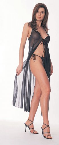 Long mesh tie front gown with matching tie sides thong