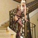 3 pc industry net cami garter, gstring n stocking