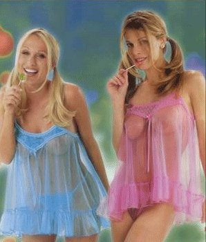 2 pc mesh babydoll with lace trim and satin bow