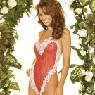 Lace heart body cover. satin bow trim