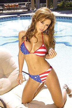 Stars and stripes thong botton and matching string top