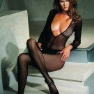 Deep v-cut fishnet bodystocking
