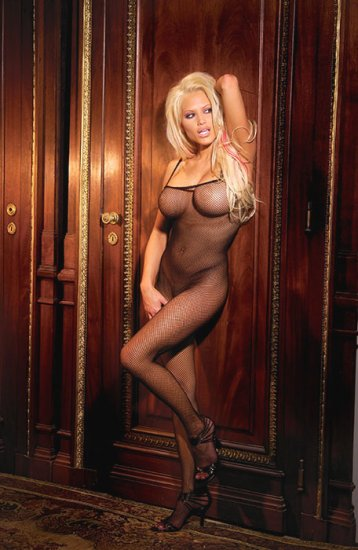 Seamless fishnet open crotch bodystocking
