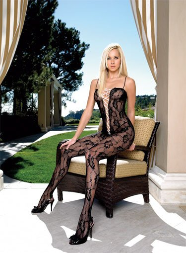 Rose lace bodystocking with ribbon lace up front