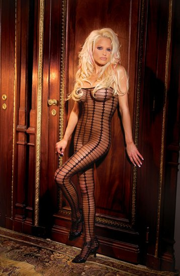 Sheer bodystocking with stripes with open crotch