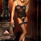 3 pc set fishnet camisette, g-string and stockings