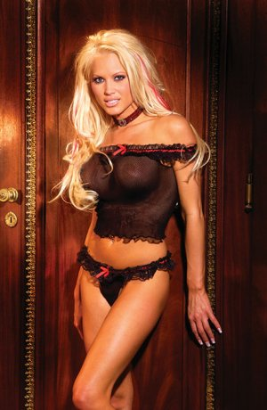 fishnet cami top with lace ruffle trim and matching thong/