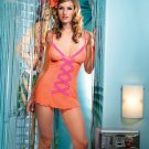 2 pc mesh chemise with ruffle mesh criss cross trim and g-string