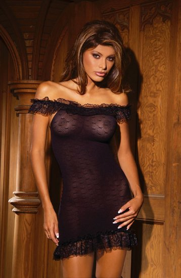 Stretch lace dress with ruffled lace top and bottom, matching hose/