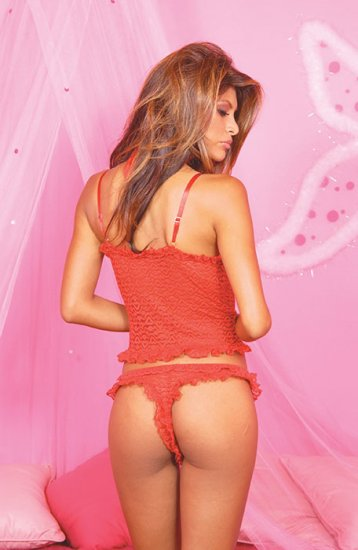 Stretch lace cami with ruffle trim