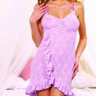 Salsa style sparkle stretch lace gown with front ruffle trim