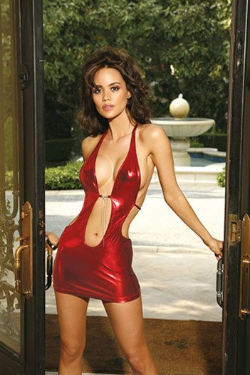 Sexy lame' halter style dress with deep v front and rhinestone applique
