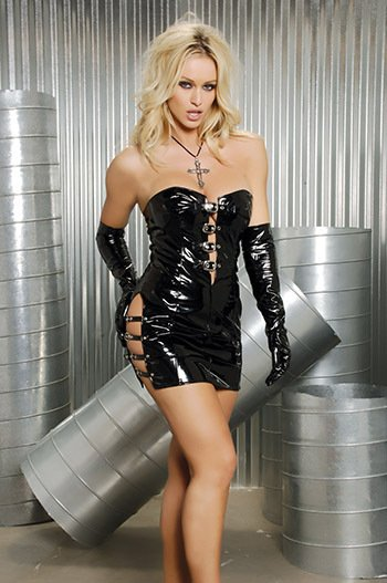 strapless vinyl mini dress with buckle detail in the front and on the sides