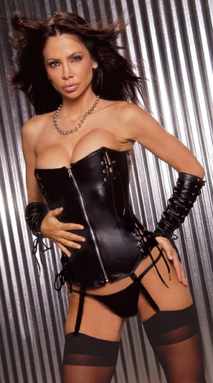 Leather zip front corset with lace up detail and boning, adj and detach garters