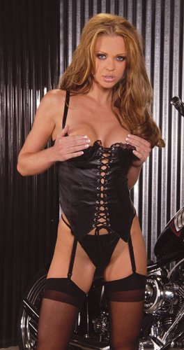Leather lace up corset with demi cup, lace trim and boning. adj and detach garters