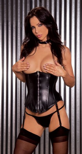 Leather cupless zip front corset with boning  adj and detach  garters