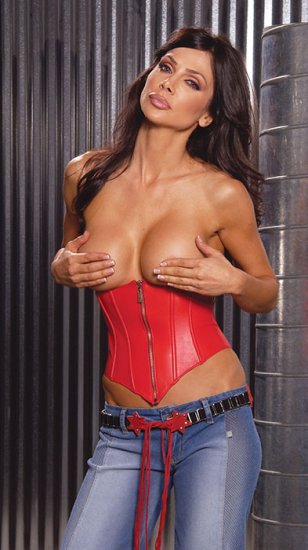 Leather cupless zip front corset with boning
