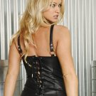 open bust leather corset with zipper front and boning and adj and detach garters