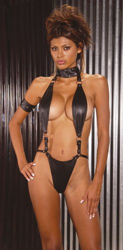 Suspender leather teddy with O ring detail and thong back. Matching arm band included