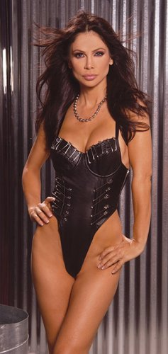 Leather strap teddy with lycra back and jumbo safety pins