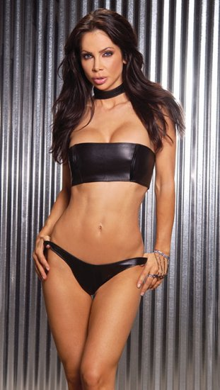 Leather bandeau with boning shown with panties