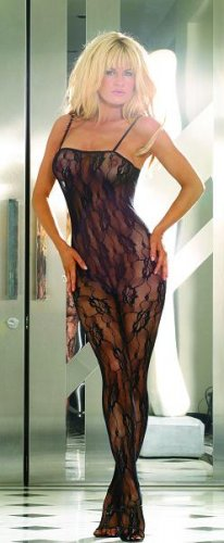 Open crotch rose lace bodystocking