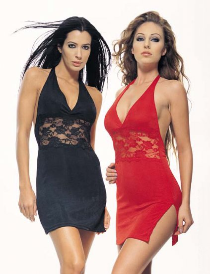 Slinky halter dress with lace inset