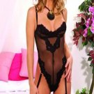 Embroidered mesh thong back teddiette with underwire and adj straps